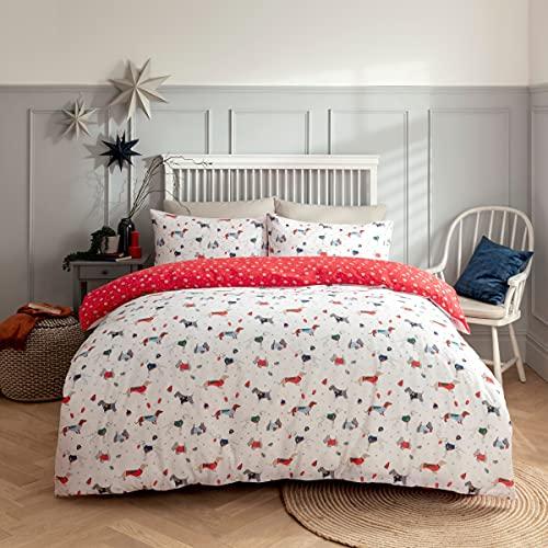 Sleepdown Juego edredón y Fundas de Almohada para Cama de Matrimonio (230 x 220 cm), diseño de Perros y Cachorros navideños, Polialgodón, Blanco y Rojo