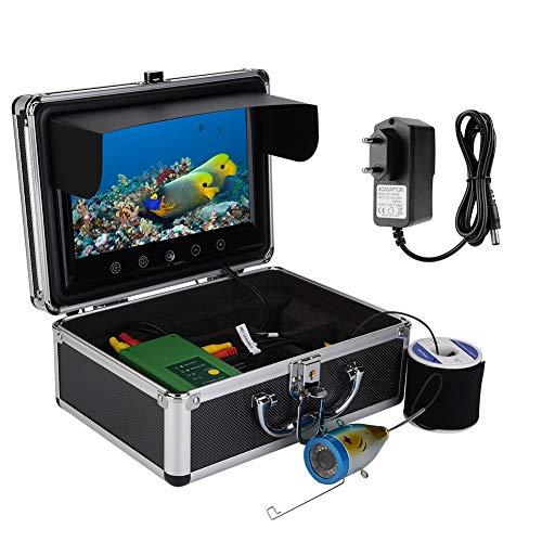 Garsent Fischfinder Kamera 30 LEDs 1000TVL 30M Unterwasser Fischerei Video Kamera HD DVR Recorder mit 9 Zoll TFT Farbmonitor für EIS/Sea/Fluss Angeln(EU 100-240v)