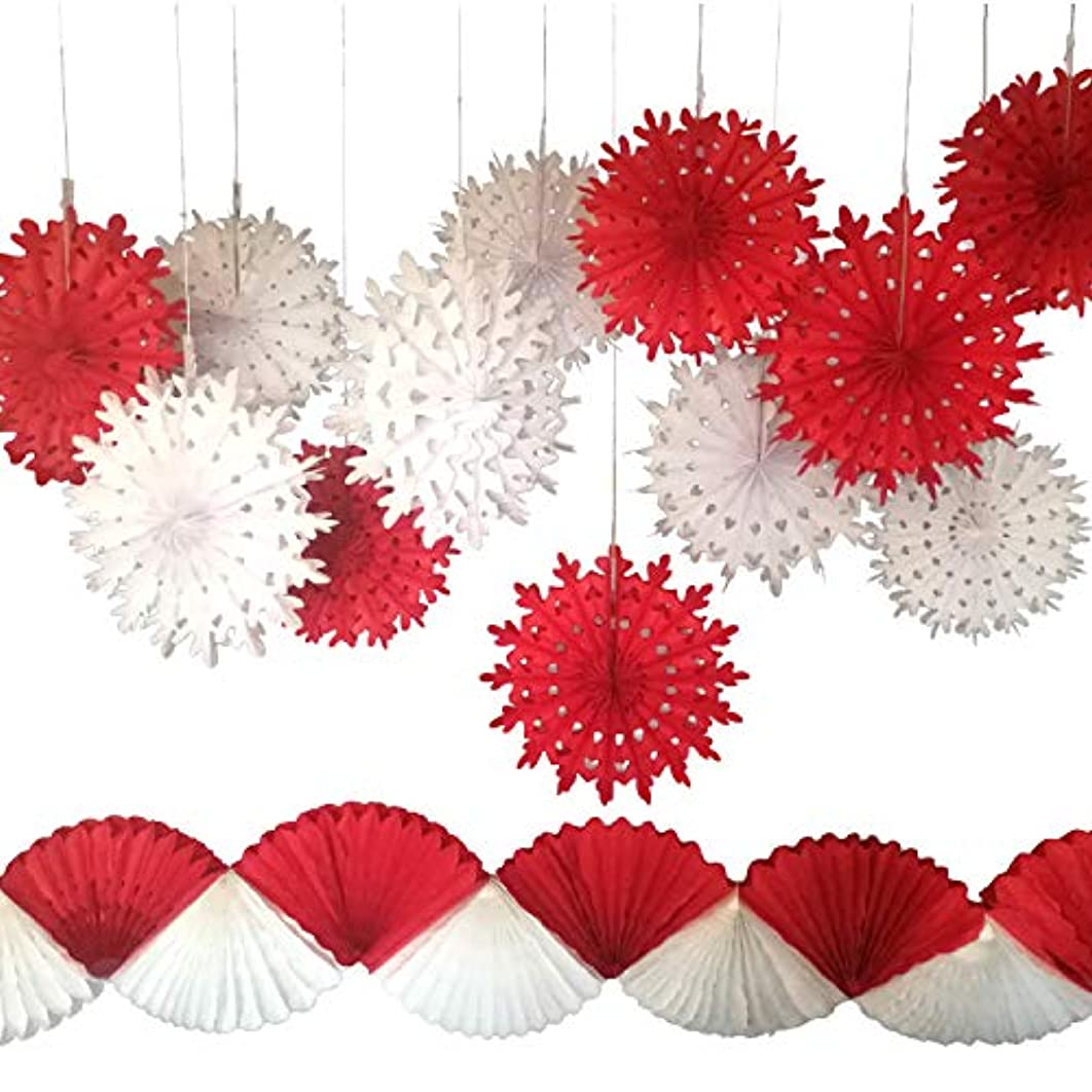 Snowflake Paper Fans with Red and White Garland, Set of 13. Party Decorations for Christmas Parties, Winter Wedding, Birthday, New Years Eve Party