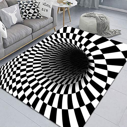 NOBCE Tappetino da Clown Trap Tappeto visivo Soggiorno Camera da Letto Tavolino Tappetino 3D Geometrico Stereo Illusion Tappeto 60X90CM