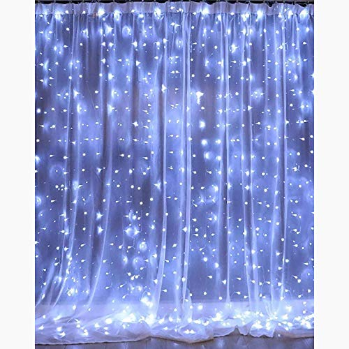Yaosh LED Curtain String Lights Remote Control Fairy Lights with 8 Modes Remote USB Plug New Year Christmas Valentine's Day Outdoor Wedding Home Decoration,White,3x2m