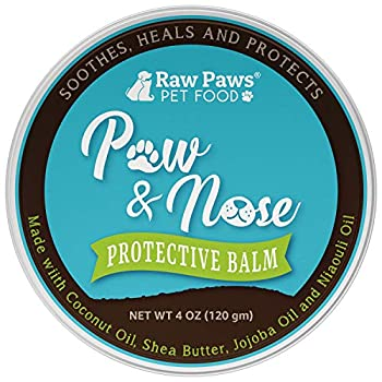 Raw Paws Natural Paw Wax for Dogs & Cats 4-oz - Healing Dog Paw Balm & Paw Soother Protects & Heals Cracked Chapped Pads Outdoor Winter Summer - Paw Butter for Dogs - Dogs Paw Protection Wax