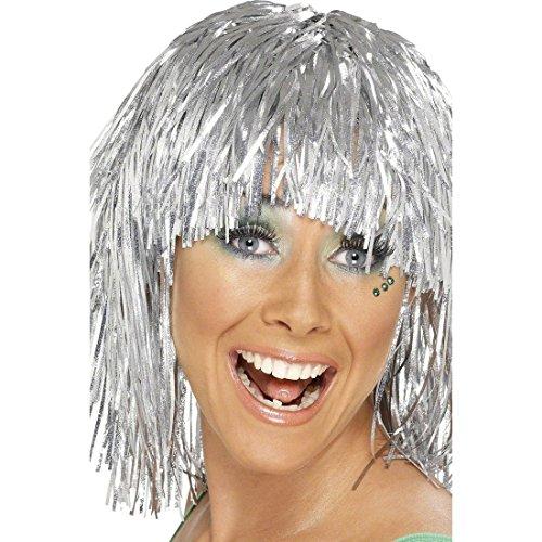 NET TOYS Lametta Perücke Disco Damenperücke Silber Glamour Lamettaperücke Glitzerperücke Karnevalsperücke