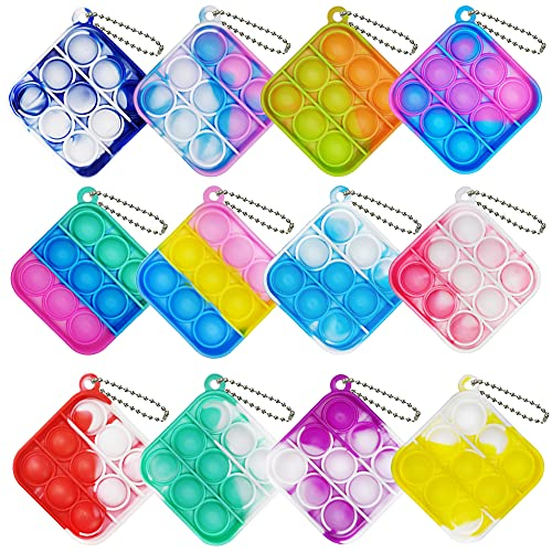 12 Pcs Mini Pop Bubble Fidget Sensory Toy, Simple Squeeze Stress Relief Hands Cheap Toys, Mini Bubble Relieve Anxiety Office Desk Pop Bulk Keychain Toy for Kids Adult