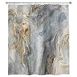 N \ A Marmor Duschvorhang Granit Stein Oberfläche rissige Linien 152 x 183 cm dunkel gestreift abstrakt 12 Stück Haken Polyester wasserdicht Stoff Badezimmer Badewanne Paneele