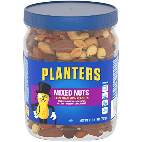 PLANTERS Mixed Nuts, Lightly Salted, 27 oz. Resealable Jar - Lightly Salted Nuts with Less than 50% PeanutsNuts are Measured by Weight), Almonds, Cashews, Hazelnuts & Pecans - Kosher