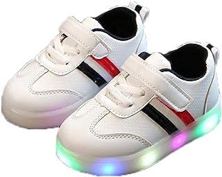SiQing Baby Girls Sandals Crystal Flower Prewalker PU Anti-Slip Soft Sole Flower Party Princess Glow Crib Sneaker Sport Shoes Led Light Luminous