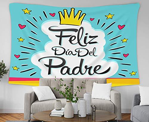 Tapiz de pared con diseño de búfalo, color rojo y negro, 60 x 50 cm, tapiz Feliz Dia del Padre Feliz Día del Padre con texto en español Vector de texto colorido, letras II,...