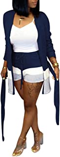 Ophestin Womens Stripe Print Sweater Long Sleeve Open Front Cardigan Coat Short Pants Set 2 Piece Outfits with Belt