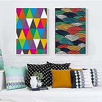 Pintura sin Marco Elegante poesía nórdica Color Ola Arte Abstracto Lienzo Pintura Cartel decoración del hogar ZGQ2057 40X60cmx2