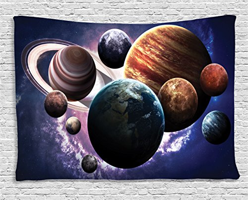 "Ambesonne Space Tapestry, Solar System Planets All Together in Space Mercury Jupiter Globe Saturn Universe, Wide Wall Hanging for Bedroom Living Room Dorm, 80"" X 60"", Dark Lavender"
