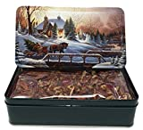 Jane Parker Dark Fruit Cake 16 Ounce Loaf in a Holiday Tin