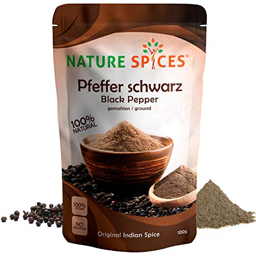 NATURE SPICES® Schwarzer Pfeffer gemahlen | 100g | Aromatisch und scharf | Perfekt als Steak Pfeffer, Grillgewürz oder für die Goldene Milch | Original indischer Pfeffer