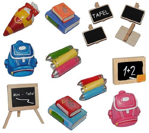 alles-meine.de GmbH 3-D Figur Schultafel / Kreidetafel - z.B. als Platzkarte / Tischkarte / Namenskärtchen als Tischdeko aus Holz - zur Schuleinführung Einschulung Schulanfang