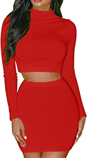 GOBLES Women's 2 Piece Skirt Sets Long Sleeve Bodycon Elegant Dress Outfits
