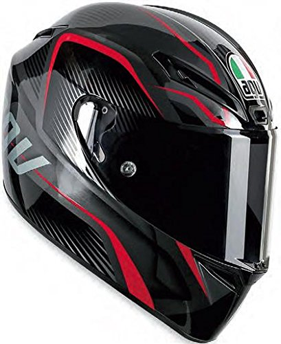 AGV GT-Veloce TXT Full Face Motorcycle Helmet (Black/Red, X-Large)