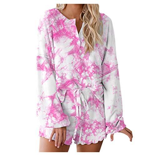 YANFANG Conjunto de Pijamas de 2 Piezas para Mujer 1 Camisa de Manga Larga+1 Pantalones Cortos con Estampado Tie-Dye para Mujer Tops de Manga Larga Ropa de Dormir