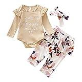 Luckyee Baby Mädchen Bekleidungssets Outfits Set,0-24 Monate Kleinkind Brief Bedruckte Strampler Tops und Blumenhosen und Stirnbänder Outfits Sets