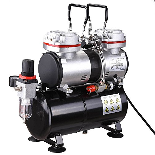 AW Pro 1/3 HP Twin-Cylinder Airbrush Compressor 3-7 Bar 3.5L Air Tank for Decorating Body Art