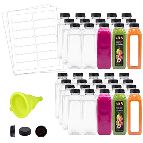 Empty Water Juice Clear Bottles with Caps Bulk 35 Pk 16 oz Clear Plastic Bottles with Black Tamper Proof Lids Funnel Labels Great for Juicing Smoothies Business