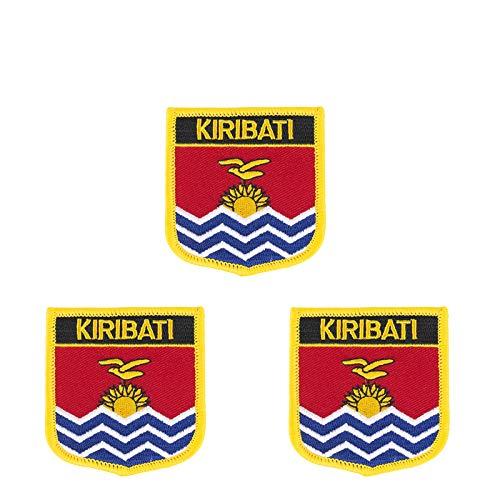 Patch zum Aufbügeln oder Aufnähen, Kiribati-Flagge, bestickt, Schild-Form, 3 Stück