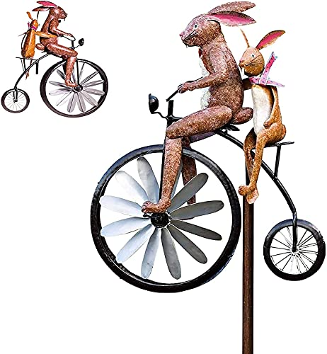 Wind Spinner Animal Riding Bike with Motorcycle Ornament Garden Decor Charm, Metal Frog Ornament Wind Spinner with Standing Vintage Bicycle, Garden Yard Lawn Windmill Decoration 2021 New (B)