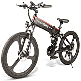 Bici de montaña eléctrica 26 'rueda plegable bicicleta eléctrica 350w 48v 10ah 21-veloz adulto aleación de magnesio ruedas masculina / femenina extraíble 10ah batería de litio de litio de 21 velocidad