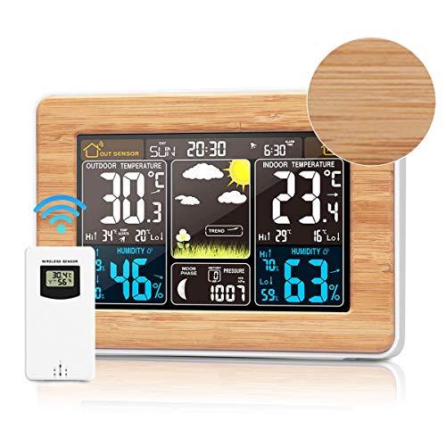 Wetterstation mit Außensensor, Hygrometer Uhr, Holz Weather Station Farbdisplay, Datum, Thermometer innen/ausen, Luftdruck, Mondphasen und Wettervorhersage, Alarm & Schlummerfunktion