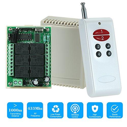 433Mhz DC 12V 6CH Canal Universal 10A Relé inalámbrico RF Interruptor de Control Remoto Módulo Receptor y 1PCS 6 Clave RF 433 MHz Transmisor Código Fijo (2262 Chip) Controles remotos Automatización
