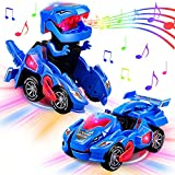 AMENON Transforming Dinosaur Car Toys with LED Light Music Automatic Deformation Dino Race Car Toys for Kids Boy Girls Toddlers 3 Year Old and Up Birthday Holiday Xmas Gift
