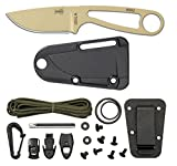 ESEE Knives Izula Fixed Blade Knife w/Survival Kit, Sheath & Clip Plate (Desert Tan)