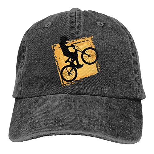 Ahdyr A Black Melancholy Skull Piña Vintage Washed Denim Sombreros Gorra de béisbol-Bicicleta Rider Speed BMX/Negro
