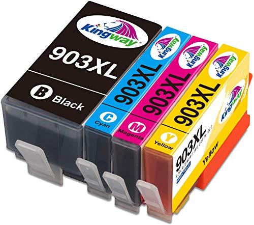Kingway Wkłady atramentowe 903XL do drukarek atramentowych HP 903 903XL czarny cyjan magenta żółty kompatybilny z HP Officejet Pro 6950 6960 6970 All-in-One – wielopak 4 (najnowsze chipy aktualizacyjne)