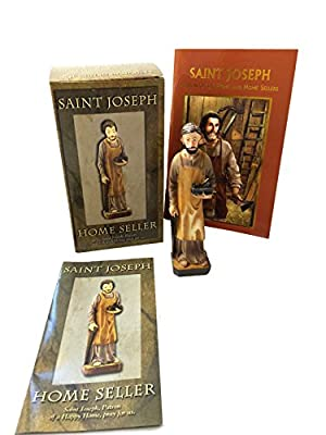 """Elysian Gift Shop Religious 5"""" H Saint Joseph Statue Home Seller Kit with Prayer Card, Instructions and Patron of The Home Seller Prayer Book (96 Pages)"""
