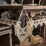ARTABLE Vinyl PVC Rectangle Tablecloth Waterproof Clear Table Cover with Champagne Lace Macrame...