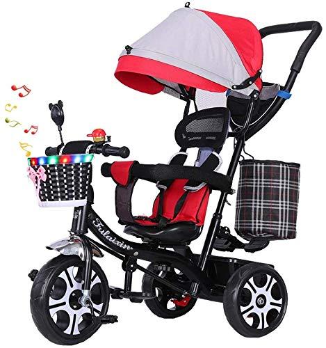 WLD kinderen 'S trainingsvoertuig kinder' S driewieler kinderwagen multifunctionele draaistoel baby bike 1-3-6 jaar oud driewieler kinderwagen met muziek rood