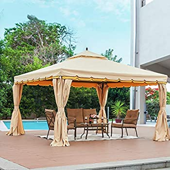 HOMROM 12'x 12' Outdoor Gazebo Canopy Aluminum Frame Soft Top Outdoor Patio Gazebo with Polyester Curtains and Air Venting Screens Beige