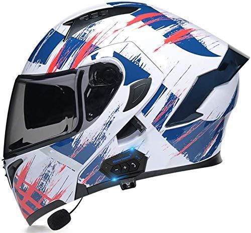 ZYQZYQ Casco de Bluetooth de la Motocicleta, Visor de Doble Sol Modular Tipo Doble Casco Completo, Casco Dot & ECETertificado, Contestación automática de Manos Libres (Color : 34, Size : L-59-60cm)