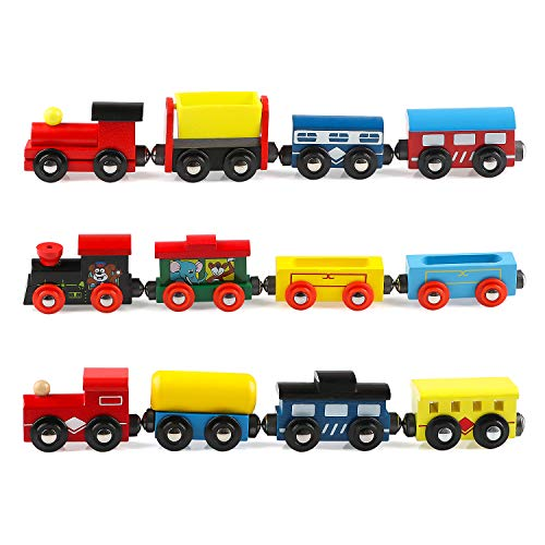Joqutoys Wooden Train Set 12 PCS, Train Toys Magnetic Trains Includes 3 Engines and Wagons, Toy Train Sets for Toddler Kids Boys and Girls, Compatible with Thomas Train Set Tracks and Major Brands
