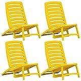 <span class='highlight'>vidaXL</span> 4x <span class='highlight'>Kids</span>' Folding Beach Chair Plastic Yellow Camping <span class='highlight'>Furniture</span> Seat