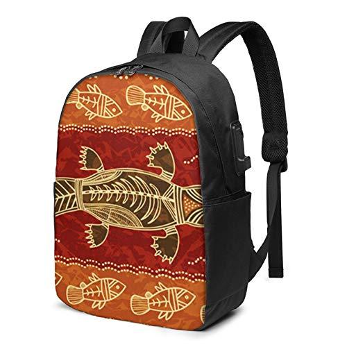 Laptop Rucksack Business Rucksack für 17 Zoll Laptop, Dot Platypus Fisch Schulrucksack Mit USB Port für Arbeit Wandern Reisen Camping, für Herren Damen