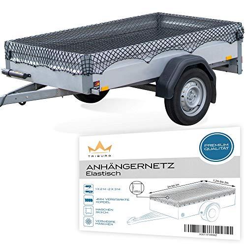 TRIBURG® Anhängernetz Dehnbar für Anhänger der Größen 1x2 m bis 2x3 m - engmaschig mit Gummiseil [schwarz/elastisch]