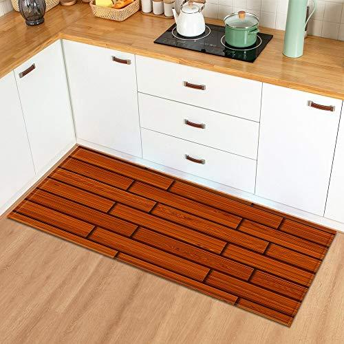 OPLJ Patrón de Grano de Madera de Dibujos Animados para Alfombra de Puerta de Entrada Dormitorio Cocina baño Pasillo decoración Alfombra de Piso A9 40x120cm