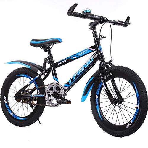 BNMKL Bicicleta De Montaña, Acero De Alto Carbono Mountain Bike 18-22 Pulgadas Niños Niños Juventud Bicicleta 21 Velocidades, Frenos De Doble Disco, Rueda De Radios,Azul,22inch