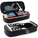 Estilizada silueta de un pulpo Funda de lápiz impresa de cuero Bolígrafo lindo Caja de lápices Caja de útiles escolares para estudiantes, caja de papelería de gran capacidad