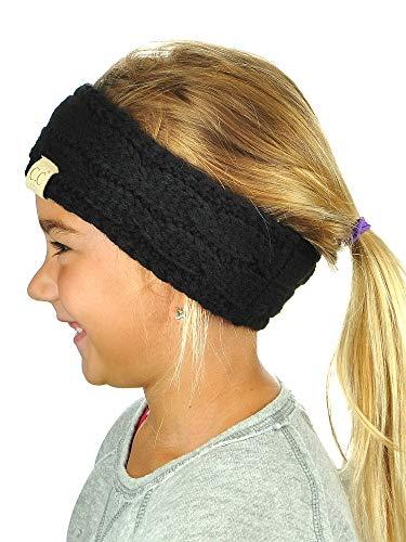 C.C Children's Kids' Winter Warm Cable Knit Fuzzy Lined Ear Warmer Headband Black/Silver