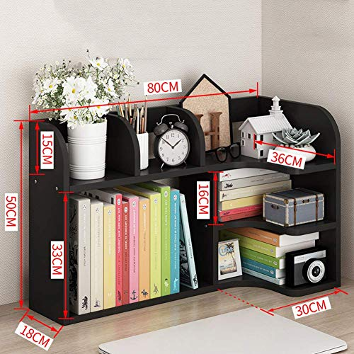 BXZ Wood Desktop Storage Organizer, Mehrzweck-Schreibtisch Bücherregal Display Regal Rack Top Bücherregal für Schreibtisch Vanity Tabletop,Schwarze Walnuss,80 x 18 x 50 cm (31 x 7 x 20 Zoll)