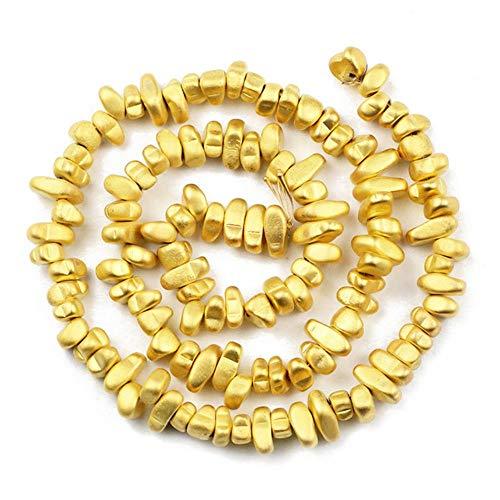 Chapado en piedra natural, plata, oro rosa, hematita, mate, grava, espaciador, cuentas sueltas para hacer joyas, collar de pulsera, color oro de 18 quilates