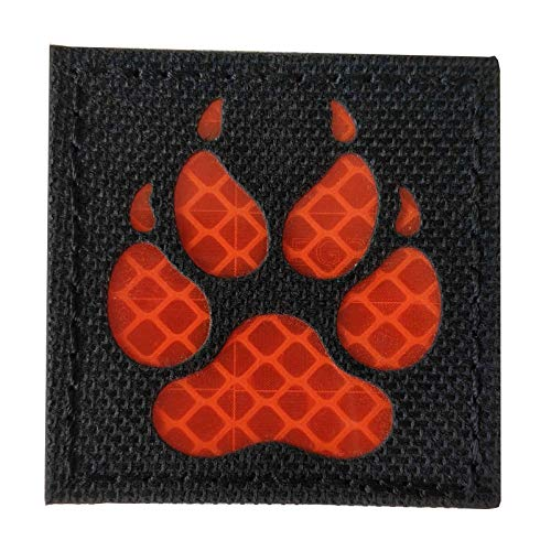 K9 Footprint IR Infrared Reflective Velcro Patch Tactical Service Dog Vests/Harnesses Emblem Embroidered Military Hook-Fastener Morale Backing (Black-Red)