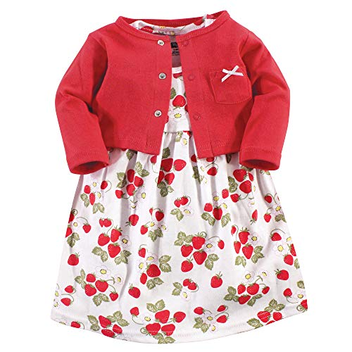 Hudson Baby Girls' Cotton Dress and Cardigan Set, Strawberries, 5 Toddler